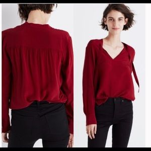 NWT Madewell Red Neck Tie Blouse